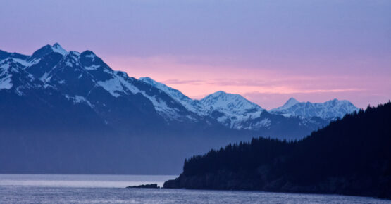 The sun sets over Alaska's Resurrection Bay